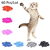 60pcs Soft Cat Pet Nail Caps Claw Control Paws off with Adhesive Glue Size XS S M L (L)