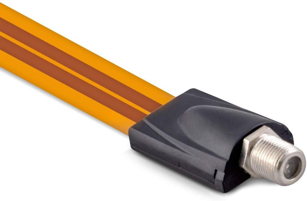 kwmobile Cable Plano coaxial Sat pasaventanas - Cable satélite Plano pasaventana Plano - Cable Delgado para Antena con Conector F de 26.5 CM Naranja