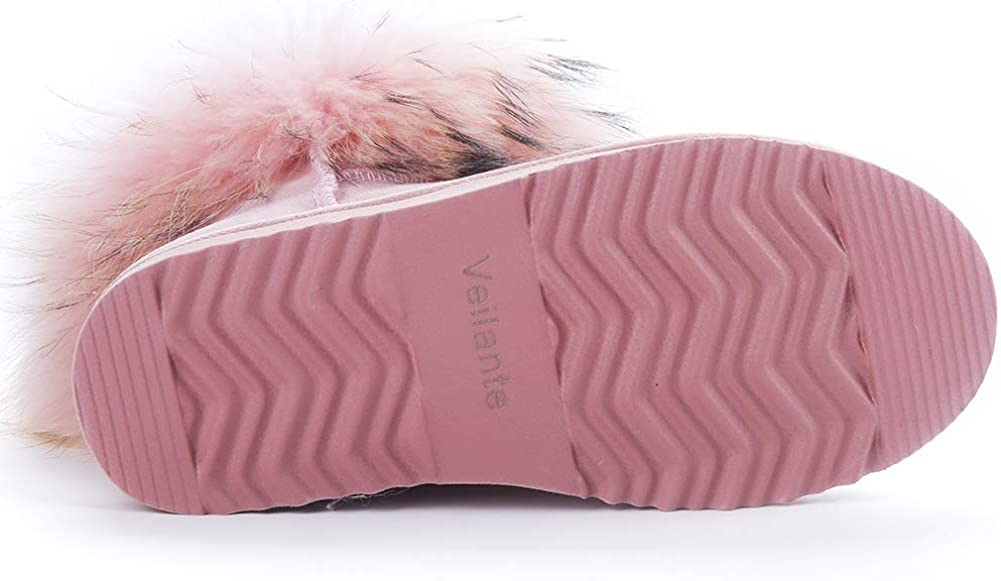 Veilante-Winter-Ladies-Waterproof Natural Racoon Fur Outside Antiskid EVA Sole Winter Snow Boots Shoes
