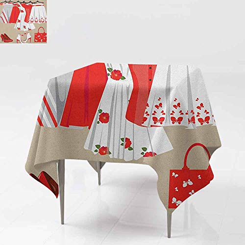 (AndyTours Tablecloth for Kids/Childrens,Heels and Dresses,Summer Young Womens Clothing on Hangers Handbag Shoes Feminine Wardrobe,Great for Buffet Table, Parties& More,36x36 Inch Multicolor)