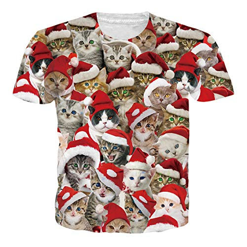 Unisex's Short Sleeve T-Shirt Casual Ugly Christmas Cat Red Santa Hat Cool Summer Graphic Tees