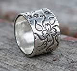 Flower Sterling Silver Extra Wide Ring Band For Woman Wedding Ring Statement - Size 8