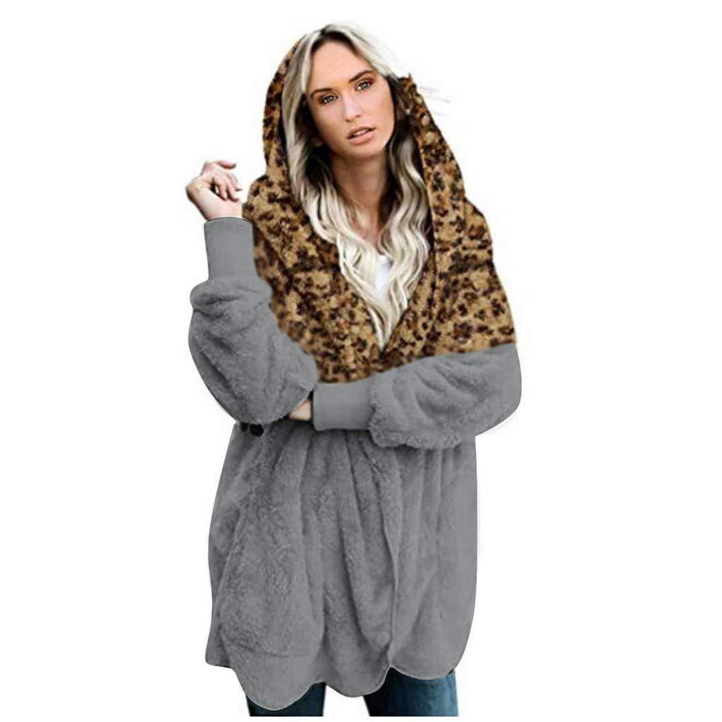 Sunnywill Manteau Chaud d'hiver De La Mode des Femmes Casual Leopard Patchwork Outwear Hiver Chaud Manteau De Poche Longue Veste en Peluche