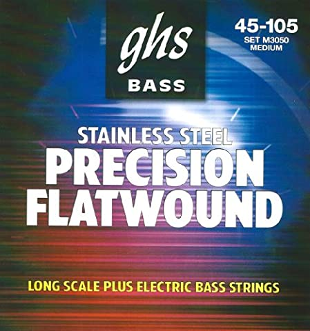 GHS Strings M3050 4-String Precision Flatwound, Stainless Steel Flat Wound Bass Strings, Long Scale Plus (Flat Bass Guitar Strings)
