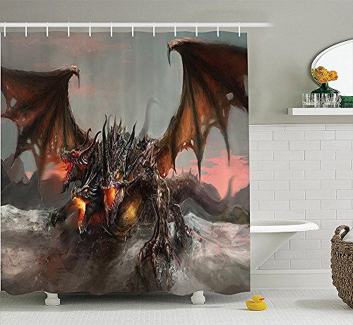 [Fantasy World Decor Collection Illustration of Three Headed Fire Breathing Dragon Large Monster Gothic Theme Polyester Fabric Bathroom Shower Curtain Brown] (Costume Express Three Headed Dragon)