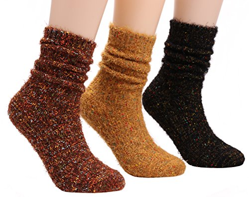 3 Pack Super Warm Knitted Wool Socks Casual Crew Sock For Women,Size 5-9 W014 (solid color) (Cashmere Color Blend Solid)