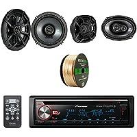 Pioneer CD Bluetooth Receiver W/Enhanced Audio Functions W/ Kicker 6.5 Inch CS Series 2-Way Black Car Coaxial Speakers Pair, Kicker 6.9 Inch CS Series 3-Way Speakers Pair & Enrock Speaker Wire Cable