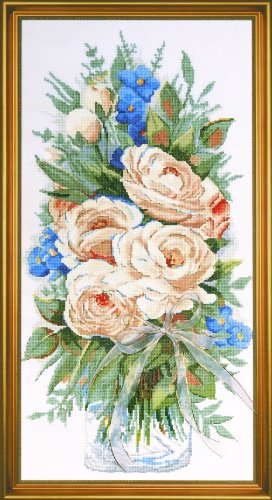 Counted Cross Stitch, White Roses, 11 by 22 inches