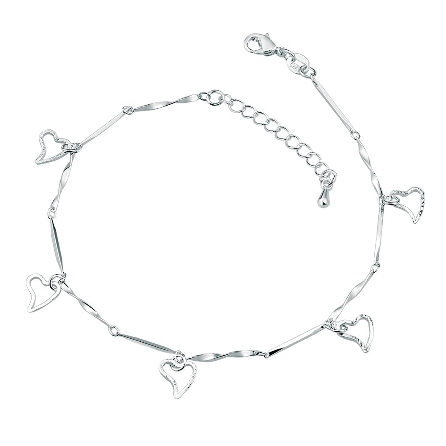 polished silver dimensional sterling inch heart anklet length width p mm weight grams puffed