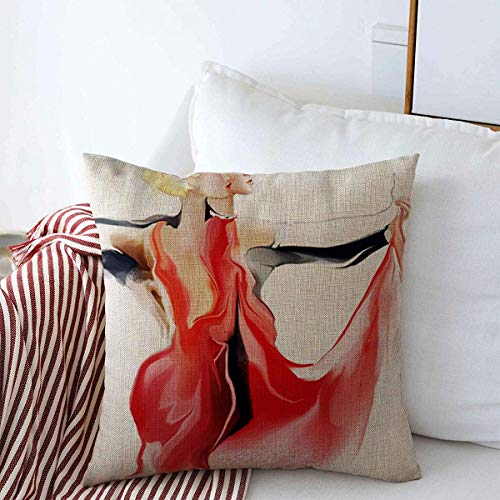 Starosa Throw Pillows Cover 16 x 16 Inches Red Ballroom Young Couple Dancing Tango Dance Contest People Dancer Latin Music Clubbing Woman Latino Cushion Case Cotton Linen for Fall Home
