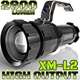 Search : 2,800 LUMEN | HIGH OUTPUT | RECHARGEABLE | ZOOMABLE Floodlight to Spotlight | X-Lamp XM-L2 CREE LED (20% Brighter Than T6 LED) TACTICAL FLASHLIGHT