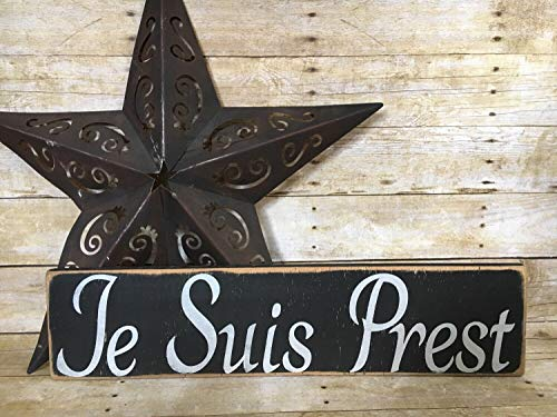 Adonis554Dan Je Suis Prest I am Ready Outlandish Rustic Wood Sign Hand Printed Sam Hueghan Jamie Fraser Motto Wall Decor Clan -