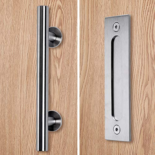 Round Shed (Stainless Barn Door Pull Handle Set| Stainless 12 inch Round Heavy Duty Solid 304 Stainless Gate Handle | for Barn Door Gates Garages Sheds)