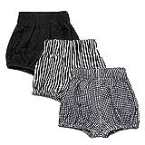 JELEUON 3 Pack of Little Baby Girls Boys Cotton Linen Blend Cute Bloomer Shorts 6-12M