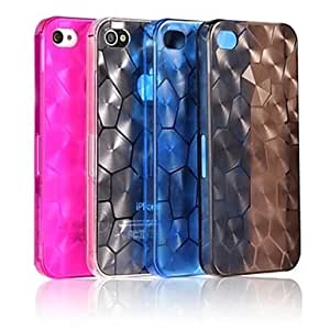 TPU Water Cube Design Transparent Back Case for iPhone 4/4S(Assorted Color) --- COLOR:White