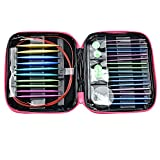CO-Z Aluminum Circular Knitting Needles Set with Ergonomic Handles, 26 Sizes Interchangeable Crochet Needles with Storage Case for Any Crochet Patterns & Yarns Projects
