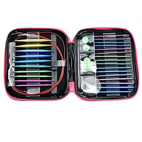 CO-Z Aluminum Circular Knitting Needles Set with Ergonomic Handles, 26 Sizes Interchangeable Knit Needles with Storage Case for Any Crochet Patterns & Yarns Projects