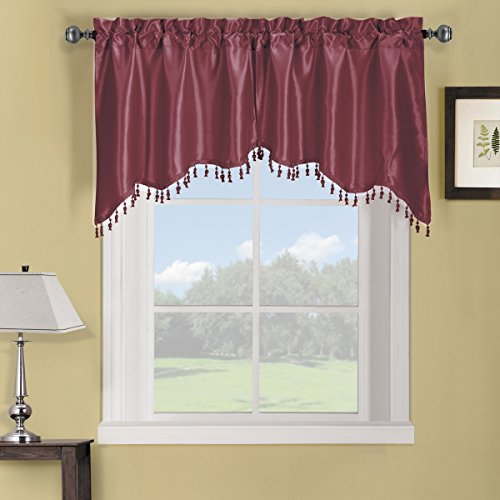 Exquisite Draperies Soho Rod Pocket Faux Silk Window Treatment Collection, Contemporary Décor 2PC Swag Valance, 35 Inches W by 30 Inches L Each, Burgundy