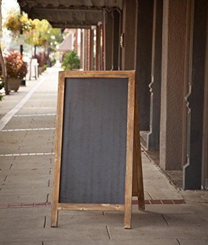 Vintage Jumbo Heavy Weight Free Standing Wood Frame Two-Sided Chalkboard - 4-ft Tall