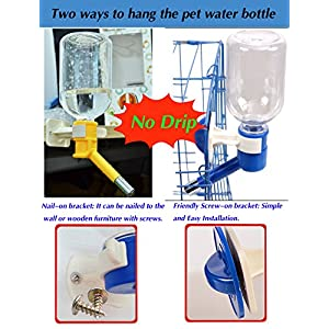 JTHM No Drip Leak Proof Small Animal Water Dispenser, Best Water Bottle Suitable for Puppy, Kitten, Cat, Hamster, Rabbit. BPA Free. Yellow.