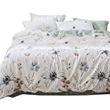 BHUSB Daisy Printed Duvet Cover Set Queen Size 100% Cotton Comforter Cover 3 Piece Set for Floral Bedding Collection Full Reversible Green Cartoon Duvet Cover Full with Zipper Closure,Lightweight