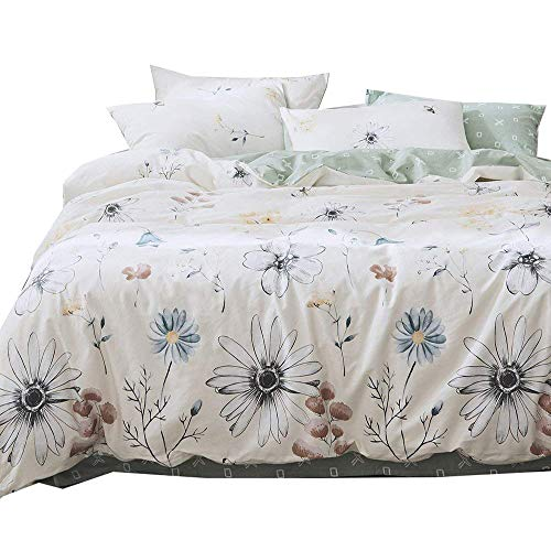BHUSB Daisy Printed Duvet Cover Set Queen Size 100% Cotton Comforter Cover 3 Piece Set for Floral Bedding Collection Full Reversible Green Cartoon Duvet Cover Full with Zipper - Daisies Bedding