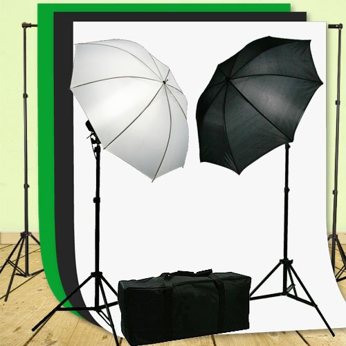 ePhoto Photography Vidoe Lighting Kit ChromaKey Green Blak White 10x20 Screen Video Lighting Kit by ePhotoInc HKZ05