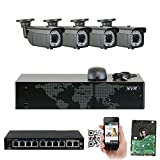 GW 8 Channel 1920P NVR Video Security Camera System - Four 5MP 1920P Weatherproof 2.8-12mm Varifocal Bullet Cameras, 180ft IR Night Vision, Realtime Recording 1080p @ 30fps, Pre-Installed 2TB HDD