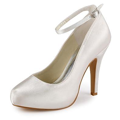 2c075e483d0 Elegantpark EP11049-IP Women Pumps Closed Toe High Heel Platform Ankle  Straps Evening Wedding Shoes
