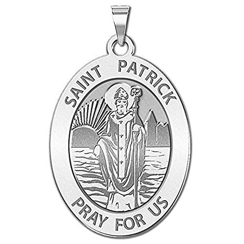 PicturesOnGold.com Saint Patrick Religious Medal Oval - 1/2 X 2/3 Inch Size of Dime, Solid 14K Yellow Gold with Engraving