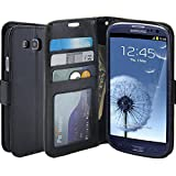 samsung galaxy s3 flip cases - S3 Case, LK [Kickstand Feature] S3 Wallet Case, Luxury PU Leather Wallet Case Flip Cover Built-in Card Slots Stand For Samsung Galaxy S3, BLACK