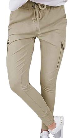 ShuangRun Pantalones Cargo de Cintura Alta para Mujer con Corbata ...