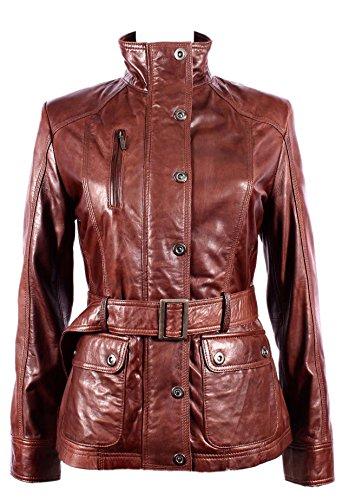 Ladies New 1160 Black Chestnut Soft Leather Jacket Military Collar Rock Slim Fit (UK 10/US 6, Chestnut)