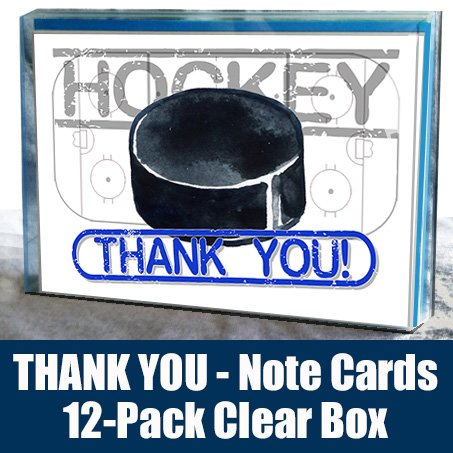 HOCKEY Thank You Note Cards (4.25x5.5) 12-PACK Sports Powercard Set 12-PACK Perfect for Hockey Fanatics to Say Thank You!