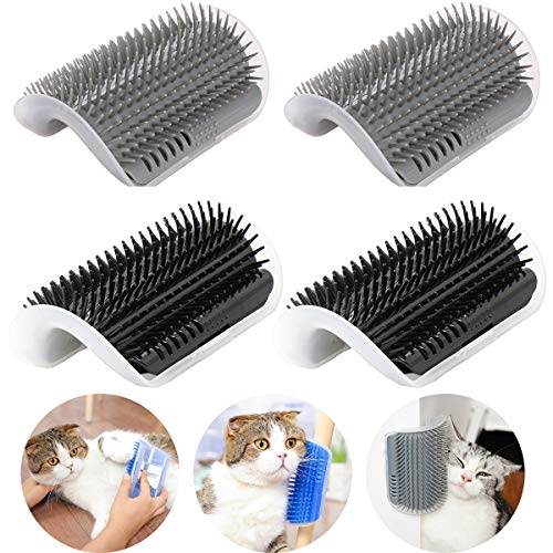 IMISNO 4 Pack Cat Self Groomer with Catnip Pouch,Cats Corner Massage Comb Grooming Brush Tool for Kitten Puppy (2 Black/2 Grey) (Corner Scratch Cat)