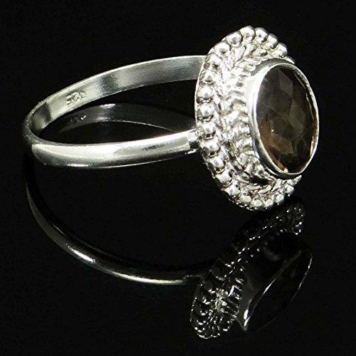 Banithani 925 bague en argent topaze fumée en pierre bijoux de mode indienne