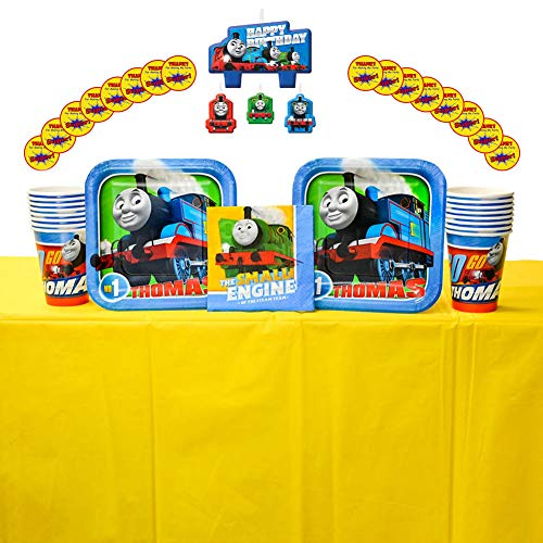 Thomas All Aboard Party Supplies Pack for 16 Guests - Stickers, Candles, Dessert Plates, Beverage Napkins, Cups, and Table Cover