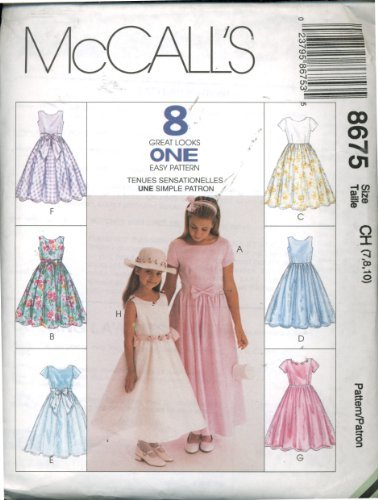 McCall's 8 Great Looks One Easy Pattern 8675 - Children's and Girls' Dress Sizes 7, 8, 10