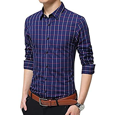 Men's 100% Cotton Long Sleeve Plaid Slim Fit Casual Formal Dress Button Down Shirt XUNMOO
