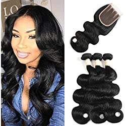 Brazilian Body Wave 3 Bundles with Lace Closure 10A Grade 100% Unprocessed Virgin Human Hair with 4×4 Closure Brazilian Virgin Hair with Closure (14 16 18+12)