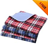 KOOLTAIL Washable Pee Pads for Dogs - Waterproof Dog Mat Non-Slip 4 Pack 24' x 36' Plaid Puppy Potty Grass Training Pads for Dog Playpen, Reusable Whelping Pads Blue & Red