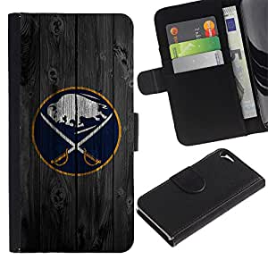 UNIQCASE - Apple Iphone 5 / 5S - Buffalo Saber Hockey Ice - Cuero PU Delgado caso cubierta Shell Armor Funda Case Cover