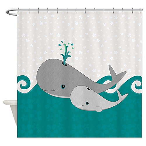 """CafePress Cute Whale and Baby Ride the Waves Shower Curtain Decorative Fabric Shower Curtain (69""""x70"""")"""