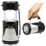 Solar Rechargeable LED Ultra Bright multi Camping Lantern Flashlight 2 in 1 , Costech Collapsible Lightweight Handle Lamp for Hiking Adventure Outdoor (Black)