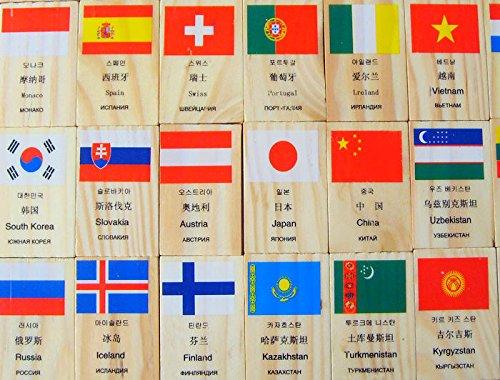 Wooden Domino Toddler Toys Printing Flag Educational 53.20.8cm Children Blocks Kids