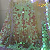 LQIAO 2 Yards Sequin Fabric Changed White Flip Up Reversible large Sequin Fabric Sparkly Mermaid Sequin Fabric Tablecloth Table Linens Curtain Christmas Decoration