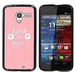 Caucho caso de Shell duro de la cubierta de accesorios de protección BY RAYDREAMMM - Motorola Moto X 1 1st GEN I XT1058 XT1053 XT1052 XT1056 XT1060 XT1055 - Love Jesus Christ Christian White&