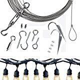 LeDengLux String Lighting Hanging Accessories, Ambience Pro LED Commercial Grade Outdoor Light Hanging Cable, Galvanized Stainless Steel with Hooks and other supplies,65ft