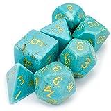 Turquoise Premium Handmade Stone Polyhedral Dice - 7 Dice Set!
