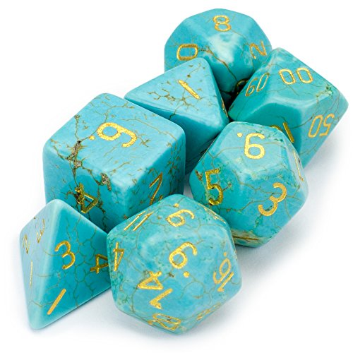 Turquoise Premium Handmade Stone Polyhedral Dice - 7 Dice Set! by WD